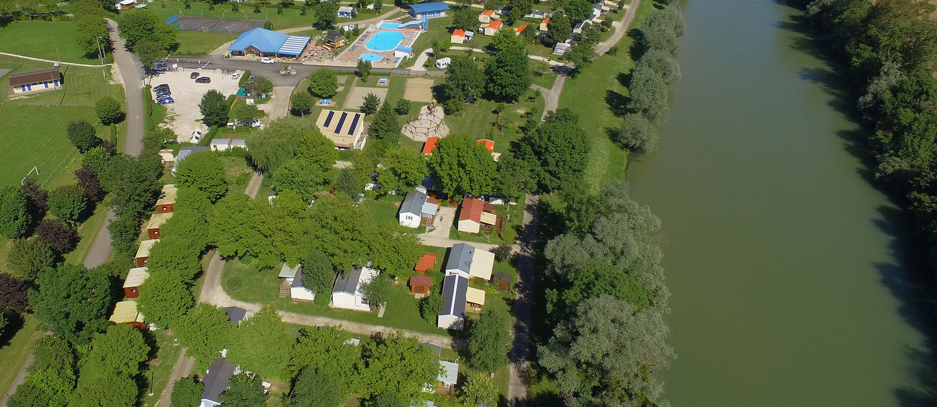 Aerial view of the campsite, cottage rental in the Jura