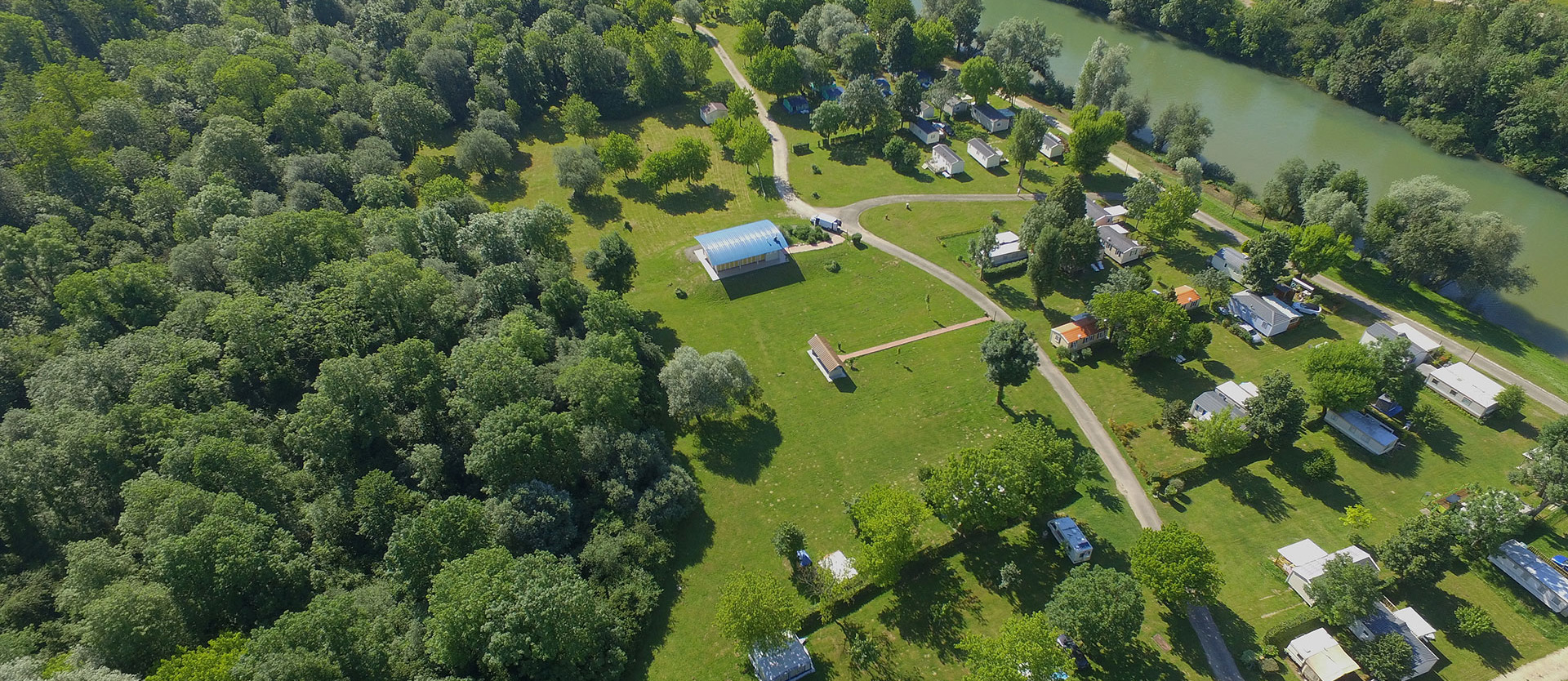 Aerial view of the campsite, mobile home rental in the Jura